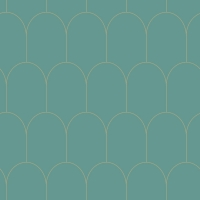 Turquoise - gold arches wallpaper