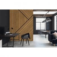 Honey striated wood imitation wallpaper