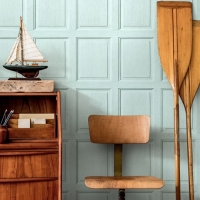 English wood panelling imitation wallpaper Aqua