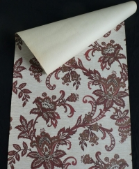 Vintage floral wallpaper with red and brown flowers