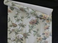 Vintage floral wallpaper with yellow, beige and brown flowers