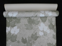 Vintage wallpaper with green and white ivy leaves