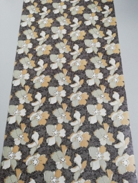 Vintage wallpaper with brown and grey flowers
