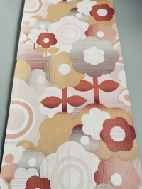 Vintage wallpaper with big ochre, brown and grey flowers