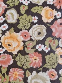 Vintage wallpaper with white, pink and yellow flowers