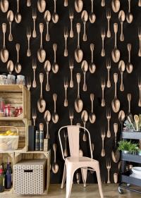 Cutlery wallpaper copper