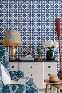Premium wallpaper Aegean Tiles red