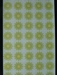 Vintage geometric wallpaper green and yellow sun