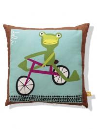 frog on bike kids pillow