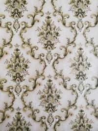 Green beige damask vintage wallpaper