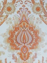 Orange floral damask vintage wallpaper