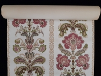 Green pink gold classic vintage wallpaper