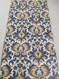 Blue brown damask vintage wallpaper