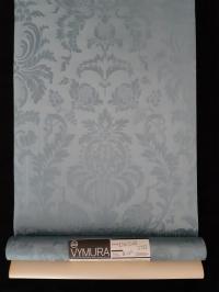 Blue-grey damask vintage castle wallpaper