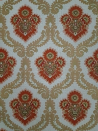 Red, gold and green floral damask vintage wallpaper