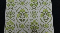 green pattern with flowers vintage wallpaper