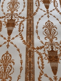 Brown beige vintage flock wallpaper with amphora