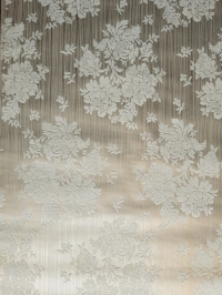 White and golden vintage flock wallpaper with flowers