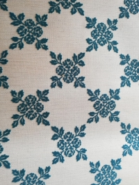 Blue and white vintage flock wallpaper