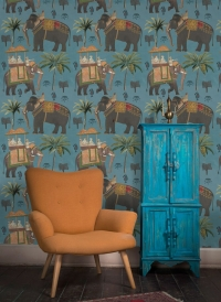The elephants procession wallpaper blue