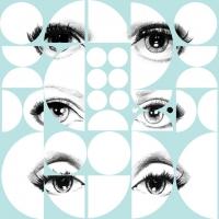 Eyes and circles blue wallpaper