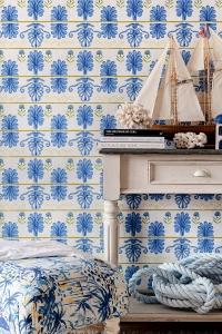 Premium wallpaper Mykonos villa blue-lemon