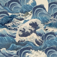 Premium wallpaper Sea Waves blue