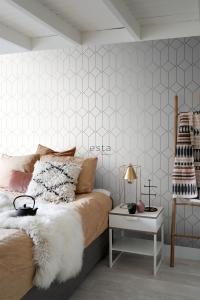 ESTA art deco wallpaper white with golden lines