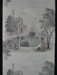 Vintage wallpaper italian harbour