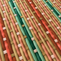 Braided wallpaper red green