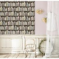 vintage bookshelve wallpaper