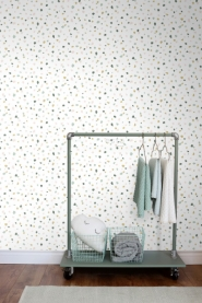 ESTA terrazzo wallpaper green, pink brown
