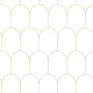 White - gold arches wallpaper