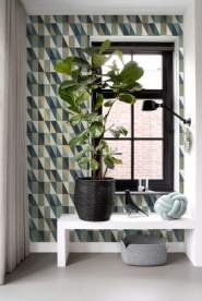 ESTA art deco wallpaper blue, green, gold triangles