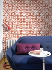 red geometric figures