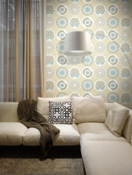 LAVMI wallpaper Clocks blue grey beige white flowers and circles