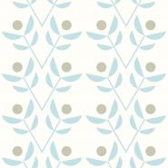 beige blue flowers