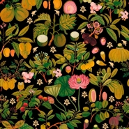 Premium wallpaper asian fruits and flowers anthracite