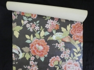 Vintage floral wallpaper with pink flowers and exotic birds
