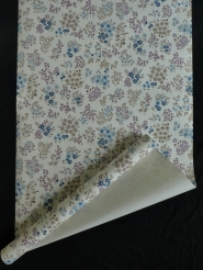 Vintage floral wallpaper with little purple and blue flowers