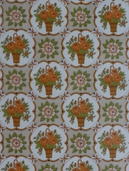 Vintage floral wallpaper with orange flowers in a brown vase