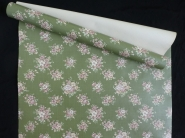 Vintage floral wallpaper with pink flowers on a green background