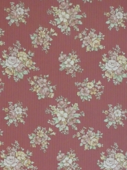 Vintage floral wallpaper with pink flowers on a dark pink background