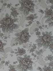 Vintage floral wallpaper with grey-blue and brown flowers