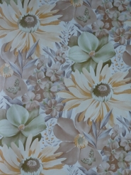 Vintage floral wallpaper with big flowers and butterflies