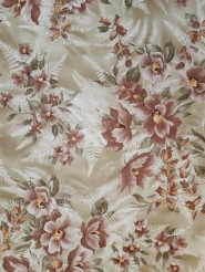Vintage floral wallpaper with brown flowers and white ferns