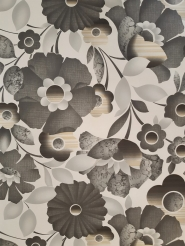 Vintage floral wallpaper with big grey flowers