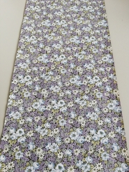 Vintage wallpaper with purple and light blue flowers