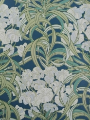 Vintage wallpaper with white and light blue flowers