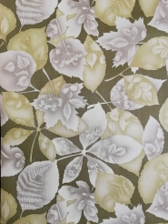Vintage wallpaper with green and grey leaves